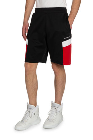 Givenchy Men's Contrast-Panel Sweat Shorts