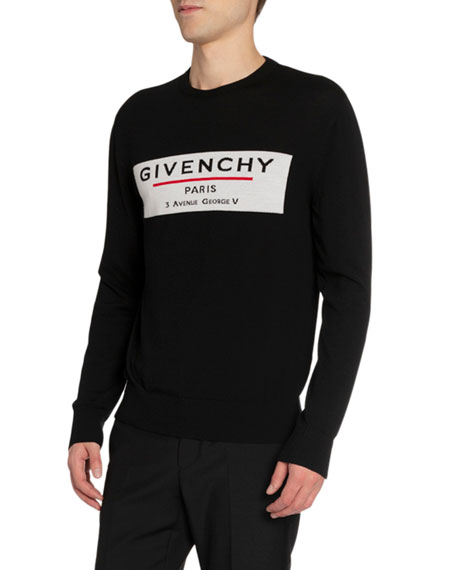 Givenchy Men's Label Graphic Crewneck Sweater