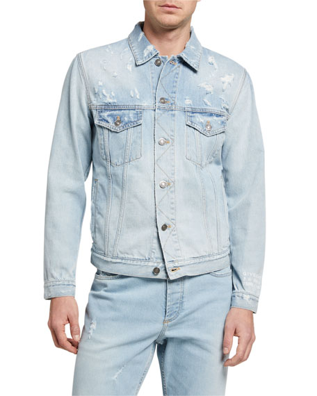 Image 2 of 3: Givenchy Men's Classic Fit Distress Denim Jacket