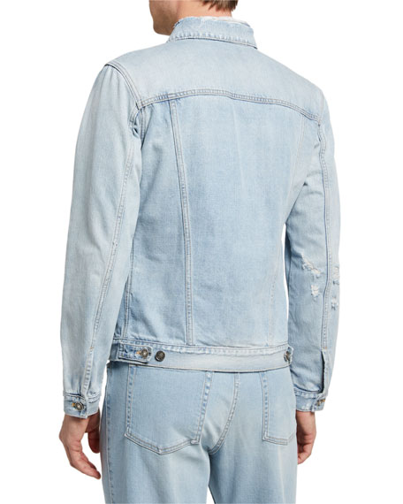 Image 3 of 3: Givenchy Men's Classic Fit Distress Denim Jacket