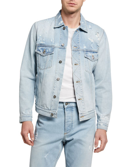 Image 1 of 3: Givenchy Men's Classic Fit Distress Denim Jacket