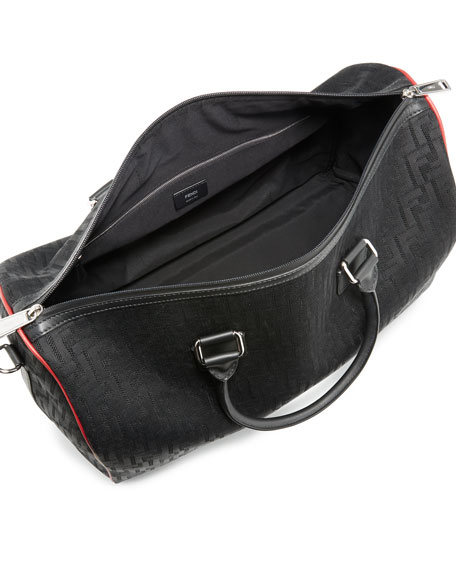 Image 2 of 3: Fendi Men's FF Logo Leather-Trim Duffel Bag