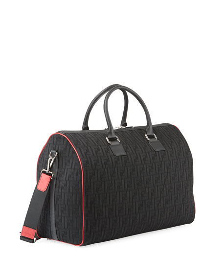 Image 3 of 3: Fendi Men's FF Logo Leather-Trim Duffel Bag
