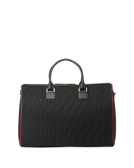 Image 1 of 3: Fendi Men's FF Logo Leather-Trim Duffel Bag