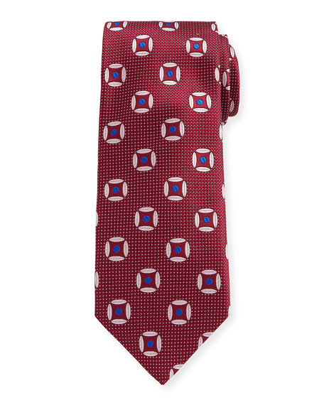 Canali Circular Diamond Silk Tie