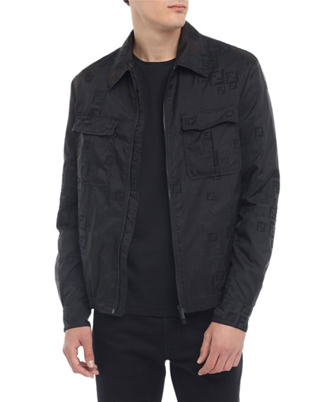 Fendi Men's Faded-FF Sheer Bomber Jacket