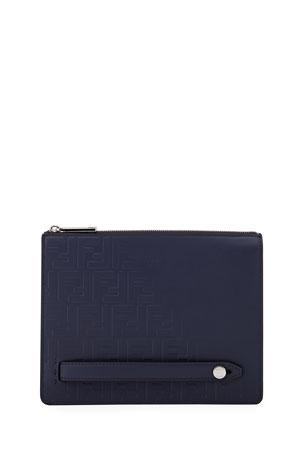Fendi Men's Embossed FF Logo Leather Clutch Bag
