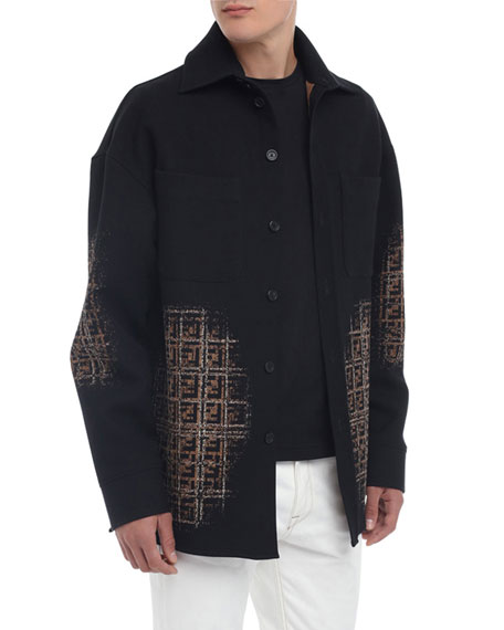 Fendi Men's Blurred-FF Cotton-Wool Shirt Jacket