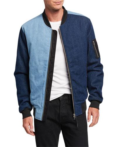 Men's Colorblock Denim Bomber Jacket