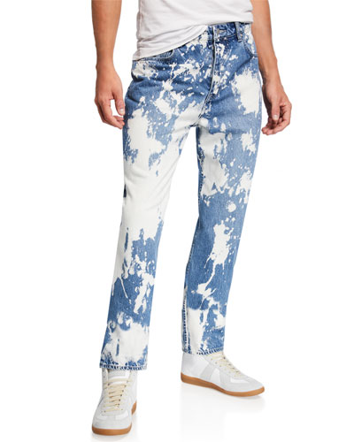 Men's Bob Bleach-Distressed Straight-Leg Jeans