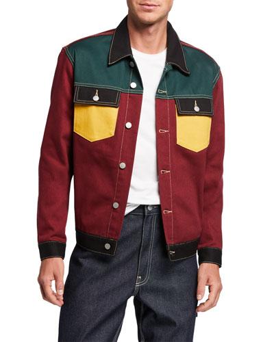 Men's Colorblock Denim Jacket