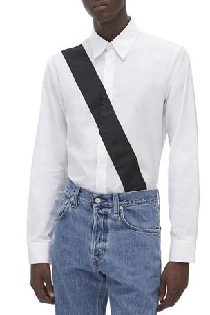 Helmut Lang Men's Slash-Band Dress Shirt