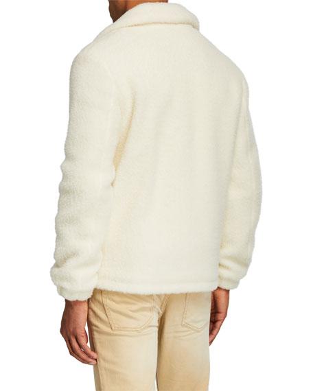 Helmut Lang Men's Plush Teddy Oversized Zip-Front Sweater