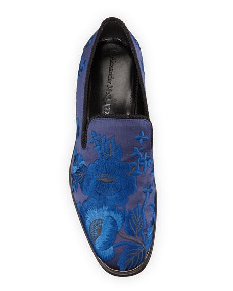 Alexander McQueen Men's Embroidered Satin Formal Slip-On Loafers