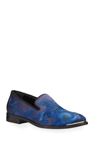 Alexander McQueen Men's Embroidered Satin Formal Slip-On Loafers