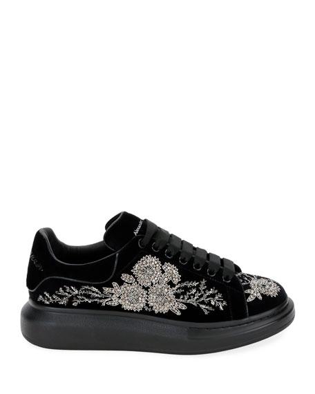 Alexander McQueen Men's Embellished Velvet Oversized Sneakers