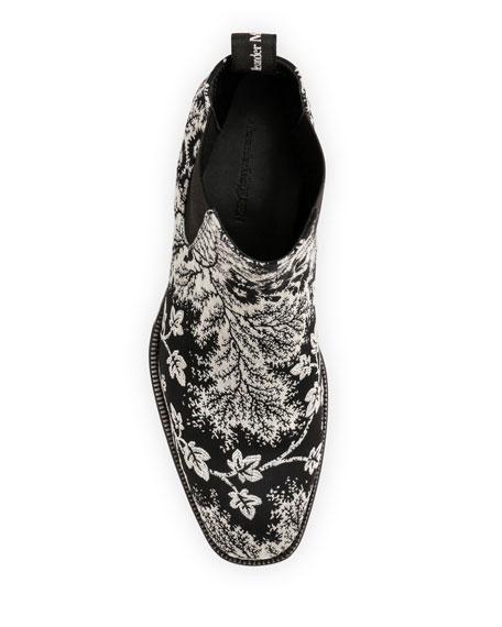 Alexander McQueen Men's Two-Tone Foliage Chelsea Boots