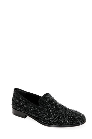 Alexander McQueen Men's Crystal-Embellished Formal Slip-On Shoes