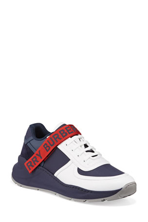 Burberry Men's Ronnie Logo-Strap Colorblock Sneakers