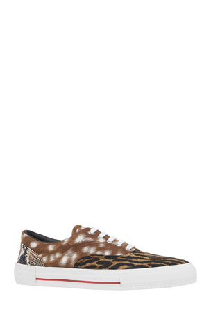 Burberry Men's Mixed Animal-Print Skate Sneakers