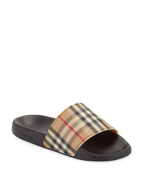Furley Vintage Check Pool Slide Sandals