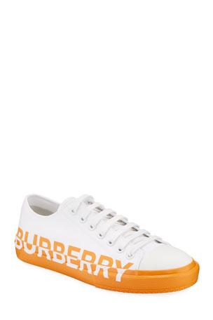 Burberry Men's Larkhall Two-Tone Canvas Logo Sneakers