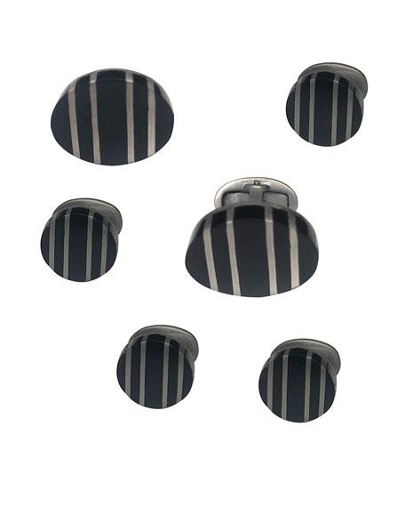 Jan Leslie Men's Black Ruthenium-Striped Onyx Cufflink & Stud Set