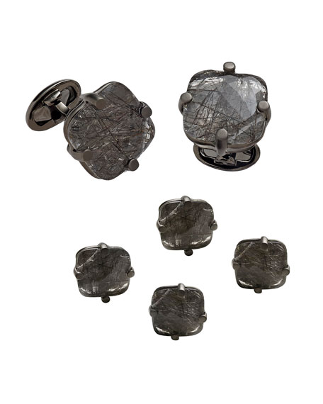 Jan Leslie Men's Square Rutilated Quartz Cufflink & Stud Set