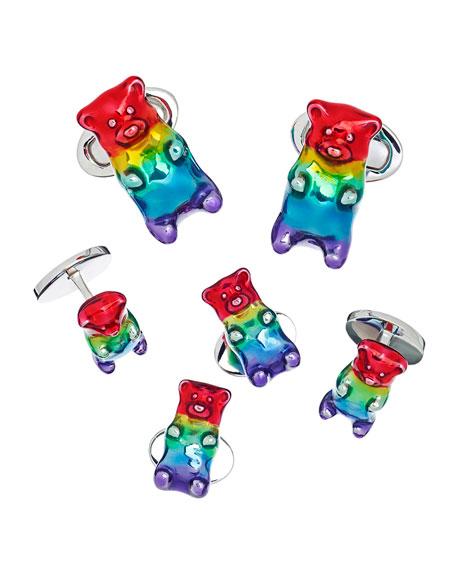Jan Leslie Men's Rainbow Gummy Bear Cufflink & Stud Set