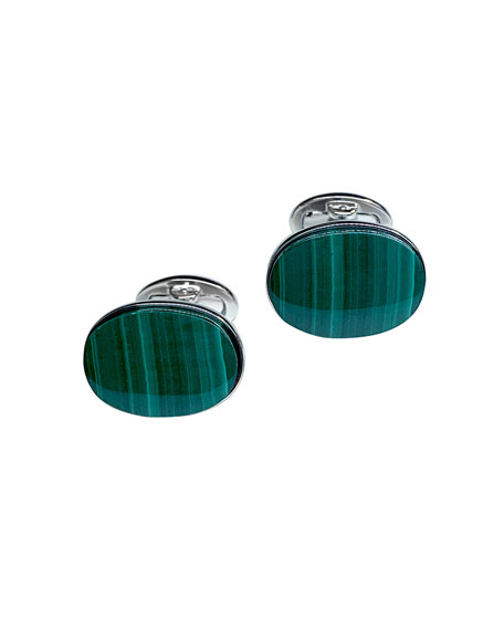 Jan Leslie Men's Oval Malachite Cufflinks