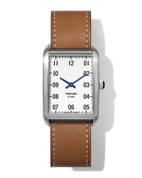 Image 1 of 4: TOM FORD TIMEPIECES N.001 44mm x 30mm Rectangular Leather Watch