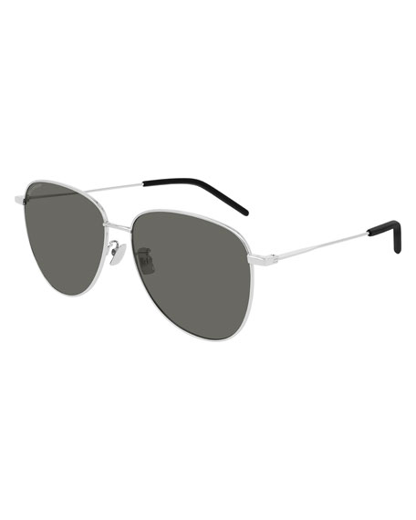 Saint Laurent Men's Slim Metal Aviator Sunglasses