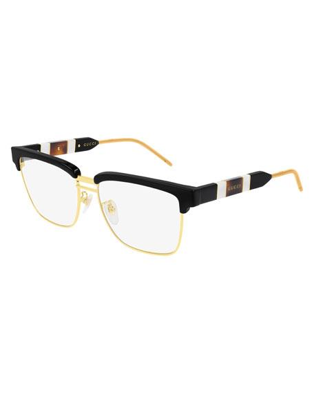 Gucci Men's Half-Rim Square Logo Optical Glasses