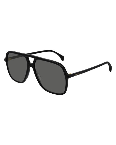 Gucci Men's Square Solid Acetate Pilot Sunglasses