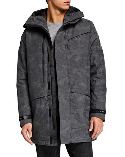 Men's Camo-Print Reflective Parka Coat