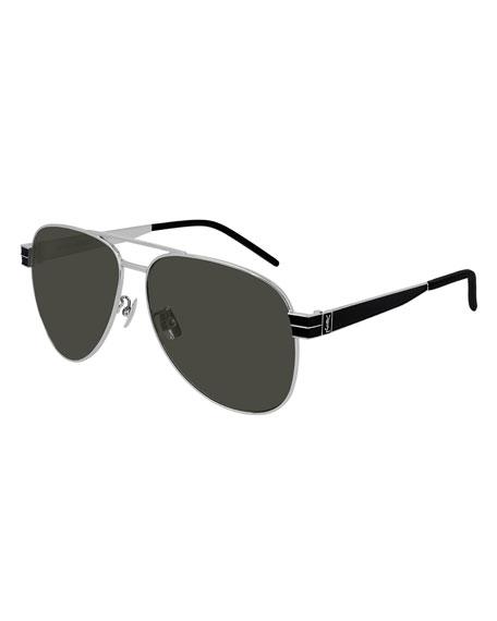 Saint Laurent Men's Two-Tone Metal Aviator Sunglasses