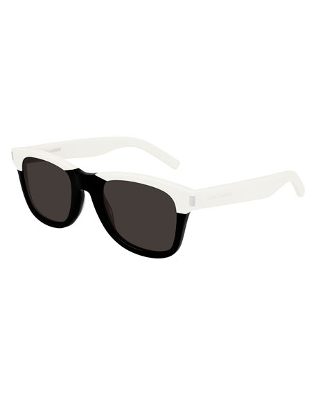 Saint Laurent Men's Chunky Square Two-Tone Acetate Sunglasses