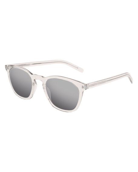 Saint Laurent Men's Square Transparent Acetate Sunglasses