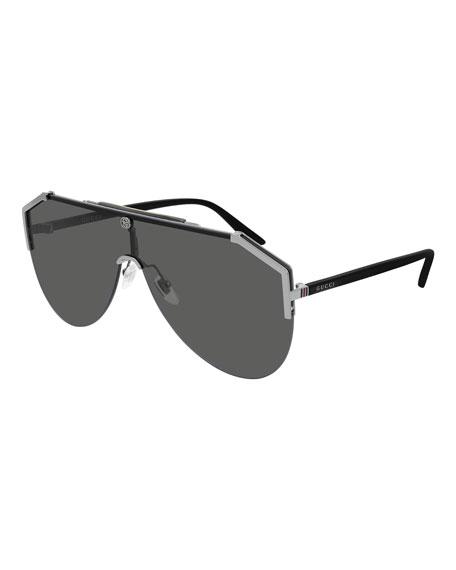 Gucci Men's Half-Rim Slim Shield Sunglasses