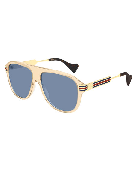 Gucci Men's Acetate & Metal Oversize Ear-Curve Sunglasses