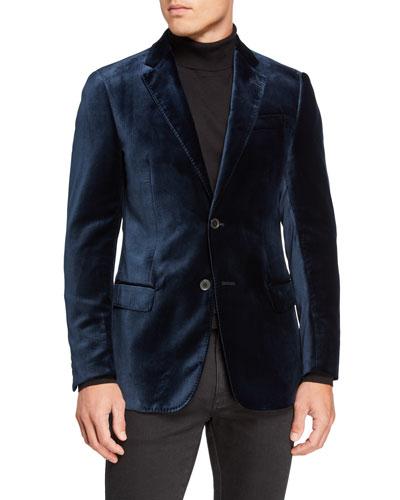 Men's Velvet Two-Button Jacket