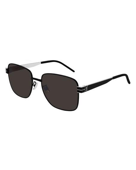 Saint Laurent Men's Square Two-Tone Metal Sunglasses