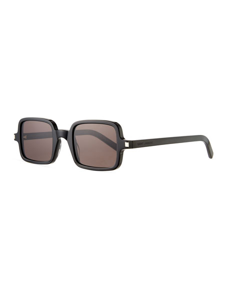 Saint Laurent Men's Square Solid Acetate Sunglasses