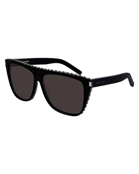 Saint Laurent Men's Solid Square Textured-Rim Sunglasses