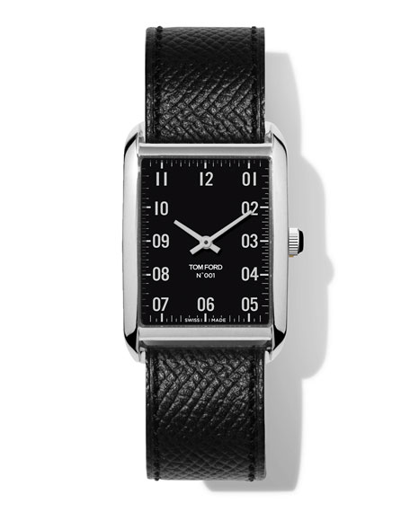 TOM FORD TIMEPIECES N.001 44mm x 30mm Rectangular Pebbled Leather Watch