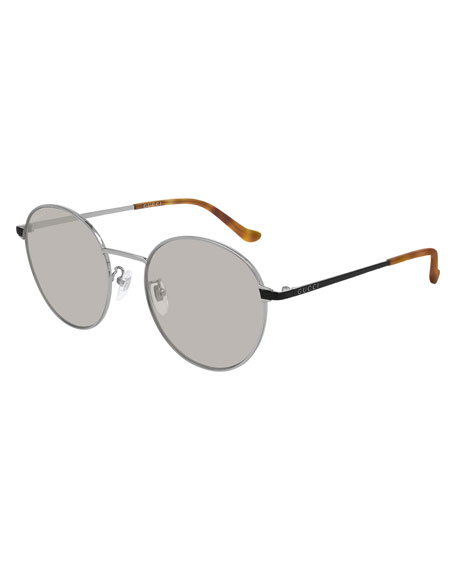 Gucci Men's Slim Round Two-Tone Metal Sunglasses