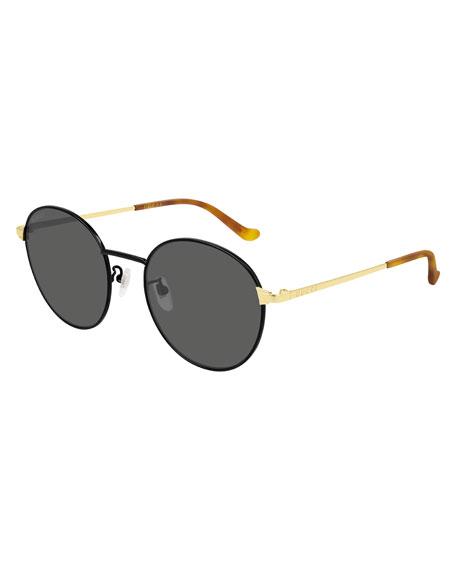 Gucci Men's Slim Round Two-Tone Metal Sunglasses