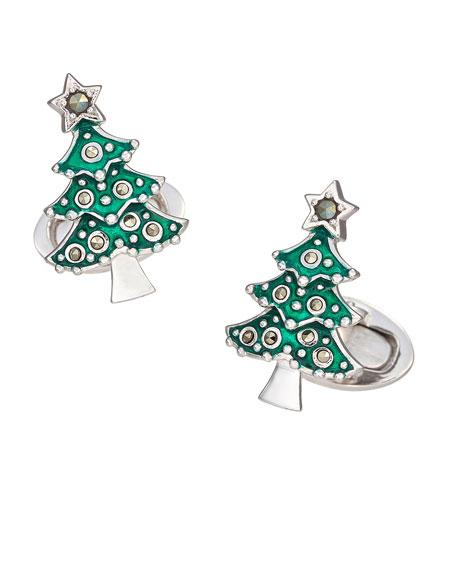 Jan Leslie Men's Christmas Tree Cufflinks