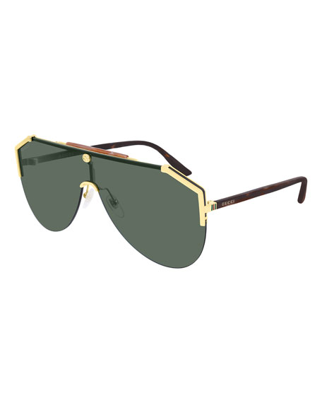 Gucci Men's Metal & Tortoiseshell Shield Sunglasses