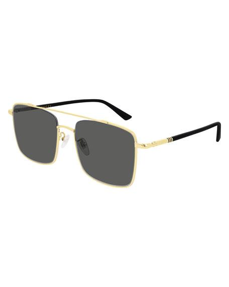 Gucci Men's Square Metal Aviator Sunglasses